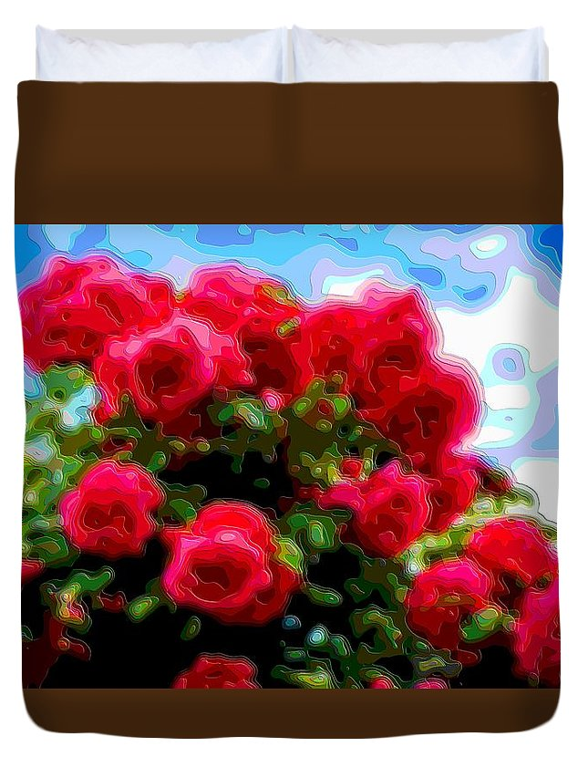 Flower-art Duvet Cover featuring the digital art Layer Art Flower Roses by Mary Clanahan