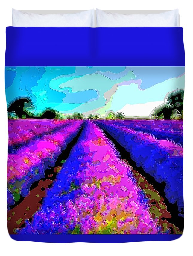 Layer-art Duvet Cover featuring the digital art Layer Landscape Art Lavender Field by Mary Clanahan