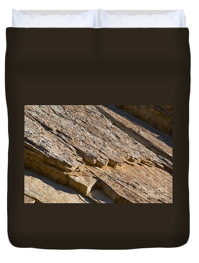 Golden Canyon Death Valley National Park California Rock Formation Rocks Formations Desert Deserts Landscape Landscapes Desertscape Desertscapes Duvet Cover featuring the photograph Layered Rock by Bob Phillips