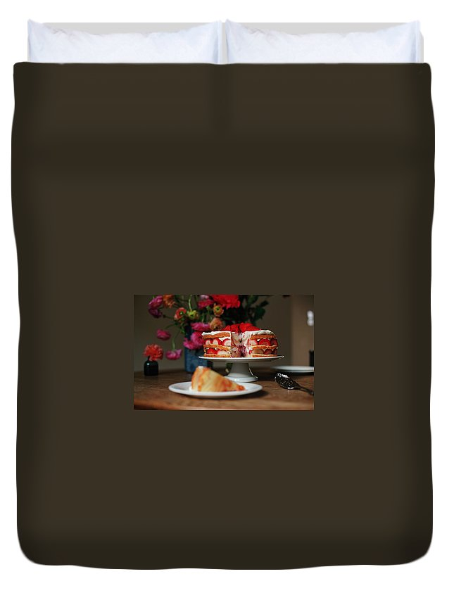 Vanilla Duvet Cover featuring the photograph Layered Strawberry Cake With Background by Katie Baxter