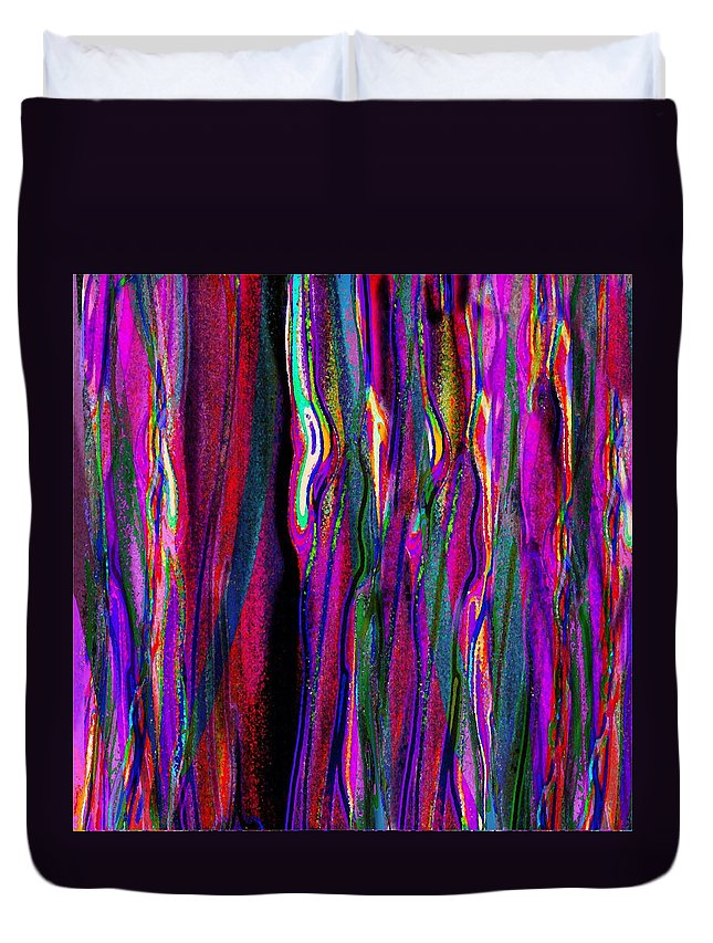 Modern Colorful Brilliant Striped Layers Abstract Expressionist Duvet Cover featuring the digital art Layers Eleven by Expressionistart studio Priscilla Batzell