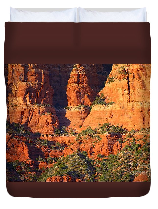 Red Rocks Duvet Cover featuring the photograph Layers Of Red Rock by Carol Groenen