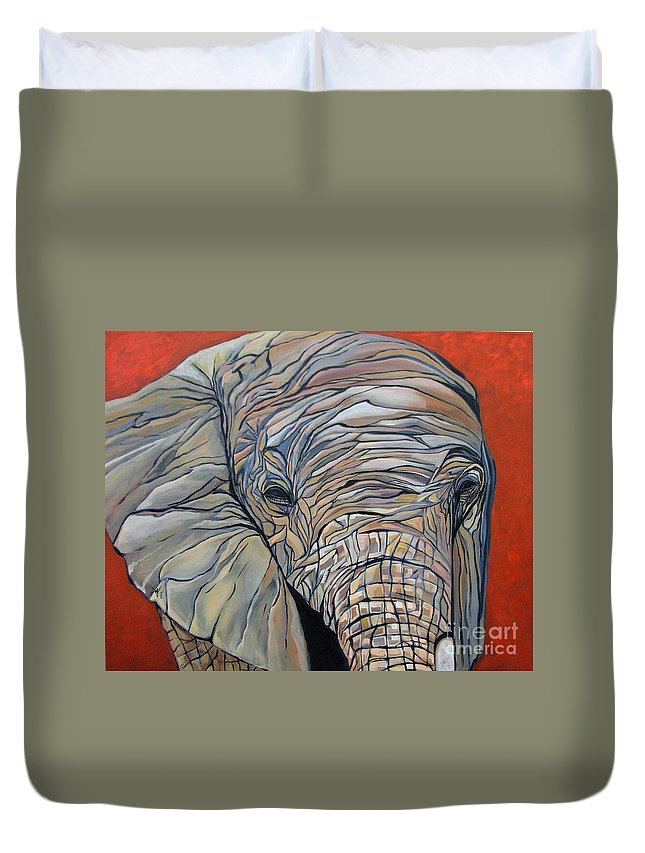 Elephant Duvet Cover featuring the painting Lazy Boy by Aimee Vance