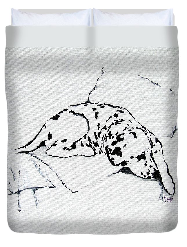 Dogs Duvet Cover featuring the painting Lazy Day by Jacki McGovern