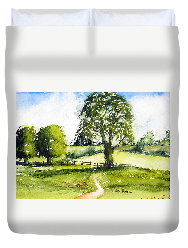 Landscape Duvet Cover featuring the painting Lazy Days by Julia RIETZ