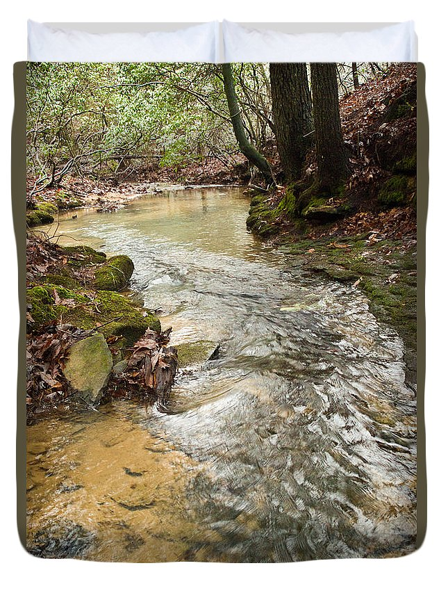 Lazy Duvet Cover featuring the photograph Lazy Mountain Stream by Douglas Barnett