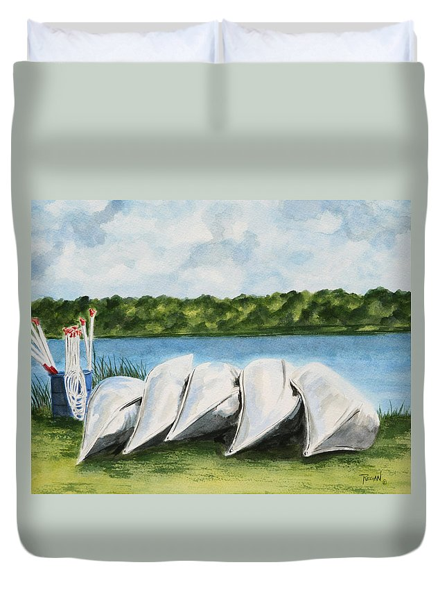 Canoes Duvet Cover featuring the painting Lazy River by Regan J Smith