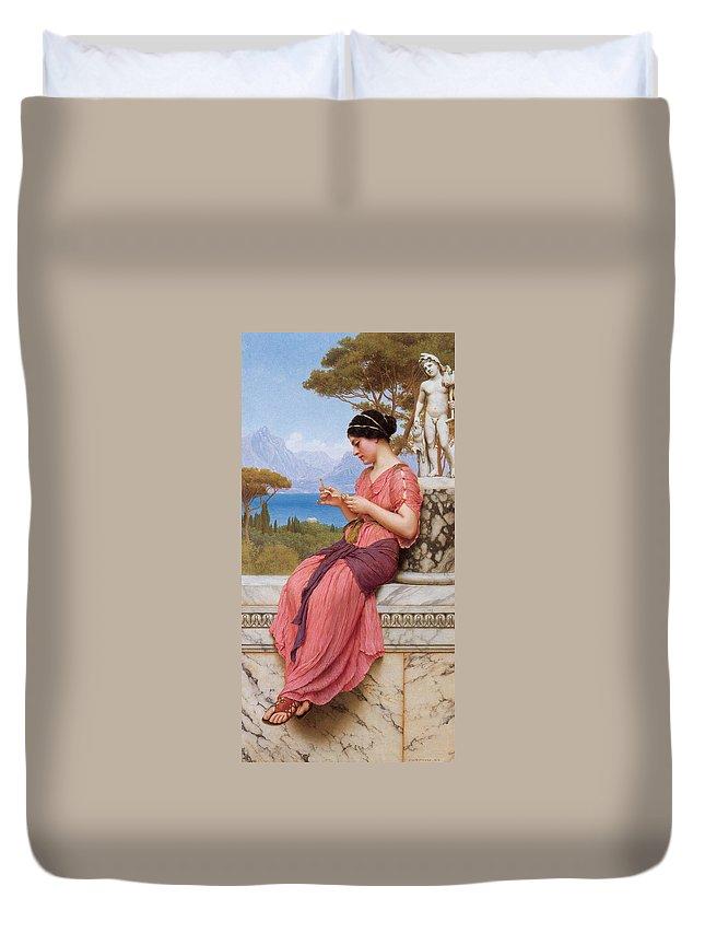 John Williams Godward Duvet Cover featuring the digital art Le Billet Doux by John Williams Godward