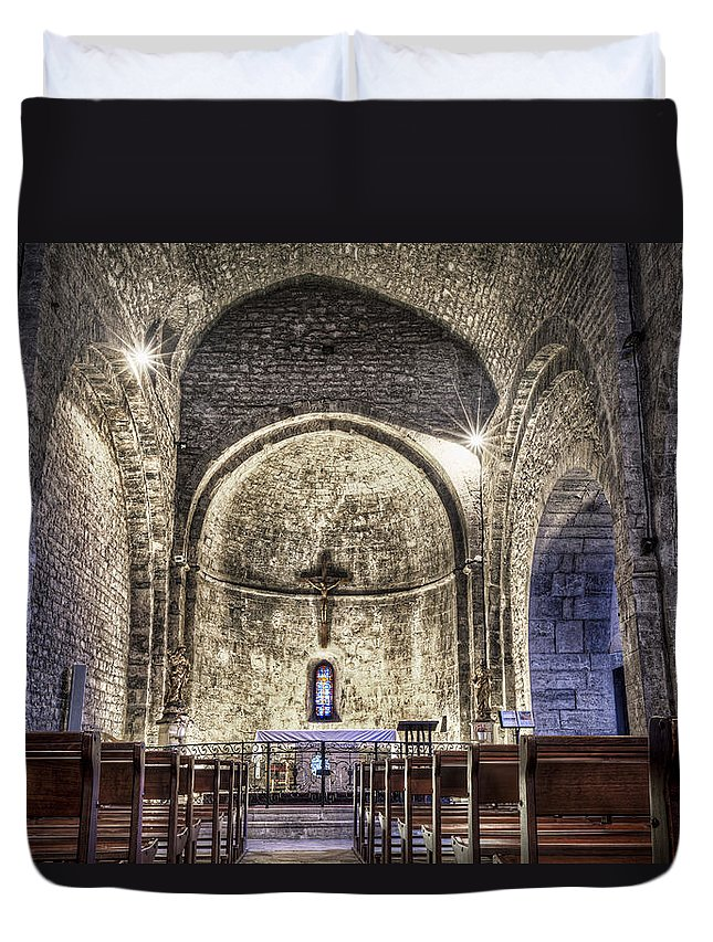 Le Castellet Duvet Cover featuring the photograph Le Castellet Medieval Church by Marc Garrido