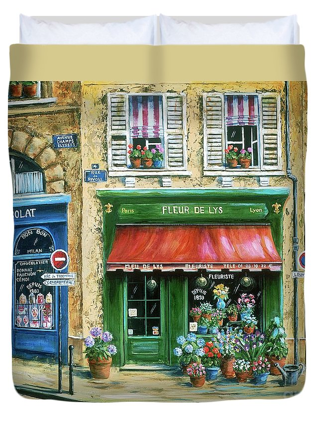 Europe Duvet Cover featuring the painting Le Fleuriste by Marilyn Dunlap