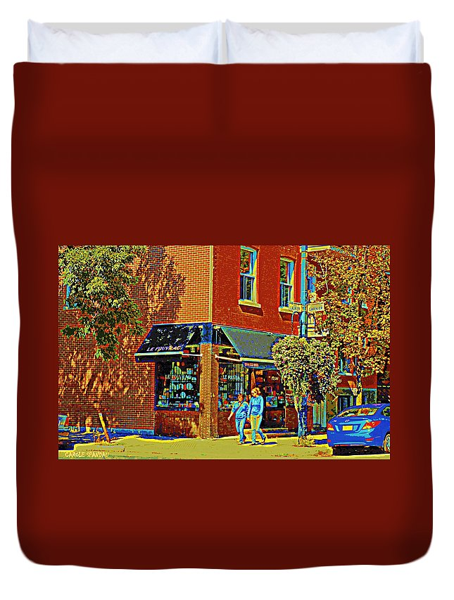 Duvet Cover featuring the painting Le Fouvrac Foods Chocolates And Coffee Shop Corner Garnier And Laurier Montreal Street Scene by Carole Spandau