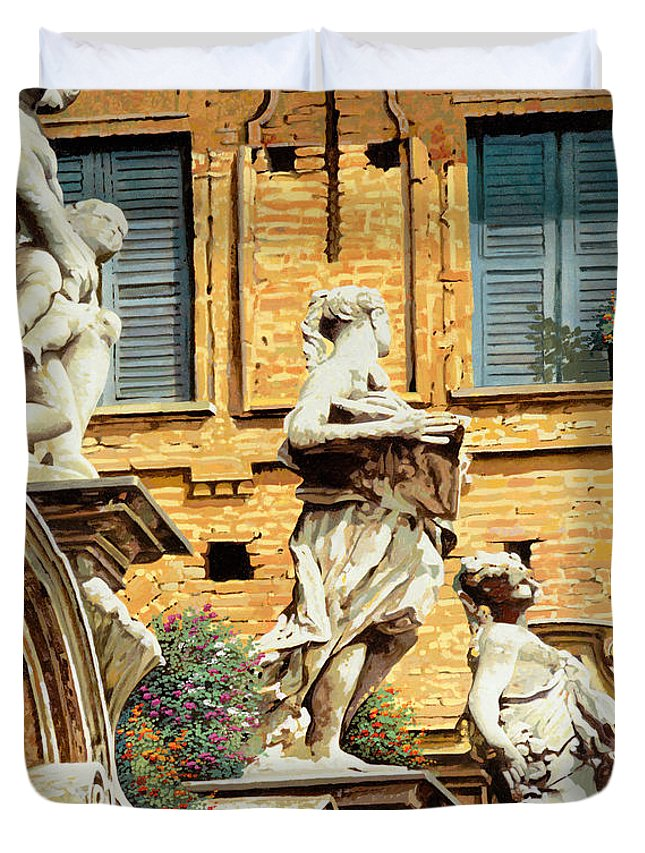 Statues Duvet Cover featuring the painting Le Statue by Guido Borelli