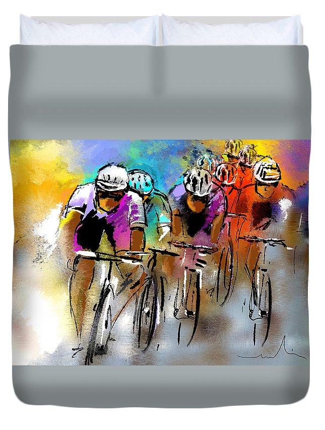 Sports Duvet Cover featuring the painting Le Tour De France 03 by Miki De Goodaboom