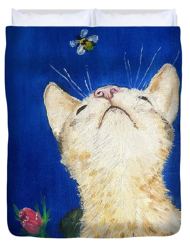 Cats Duvet Cover featuring the painting Lea And The Bee by Reina Resto