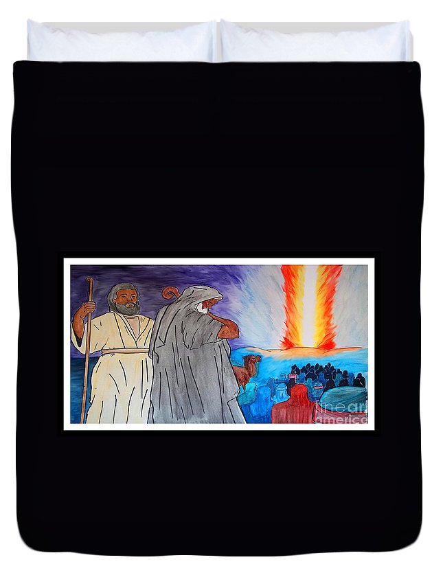 Justin Moore Duvet Cover featuring the painting Lead By The Pillar Of Fire by Justin Moore