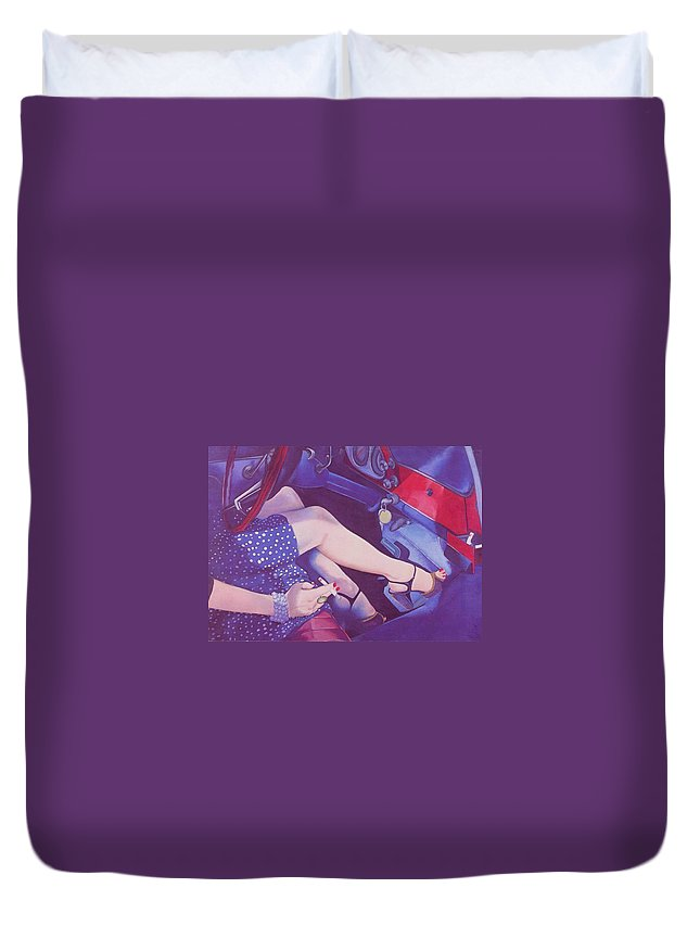 Feminine Duvet Cover featuring the painting Lead Foot by Mary Ann Leitch