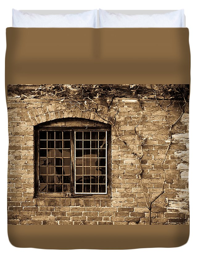 Leaded Duvet Cover featuring the photograph Leaded Glass Window In Sepia by Douglas Barnett
