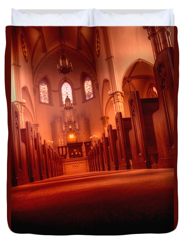 Temple; Religion; Light; Illuminated; Bright; Red; Colorful; Religious; Building; Worship; Arch; Gothic; Window; Stained Glass; Inside; Indoors; Interior; Jewish; Pews; Rows; Alter; Ornate; Lovely; Beautiful; Relaxing; Calm; No One; Empty; Angle; Angled Duvet Cover featuring the photograph Leading by Margie Hurwich