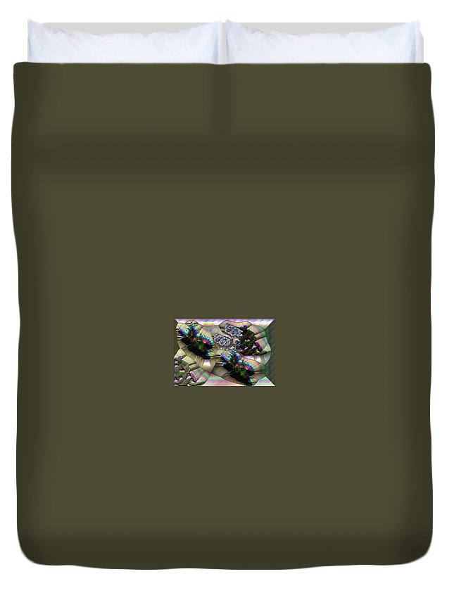 Rainbow Duvet Cover featuring the digital art Leaf Mould by Bad Monkey