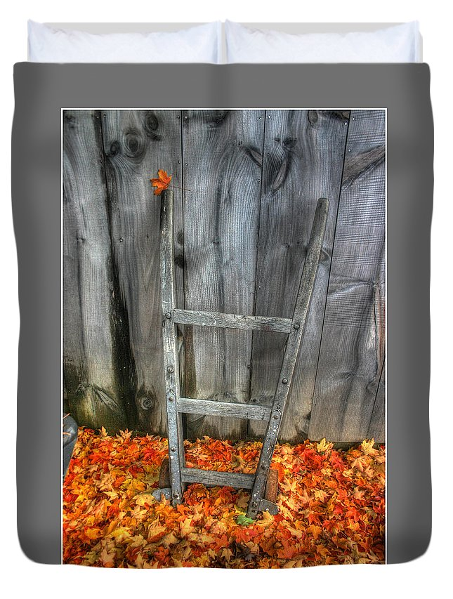Dolly Duvet Cover featuring the photograph Leaf On A Dolly by Wayne King