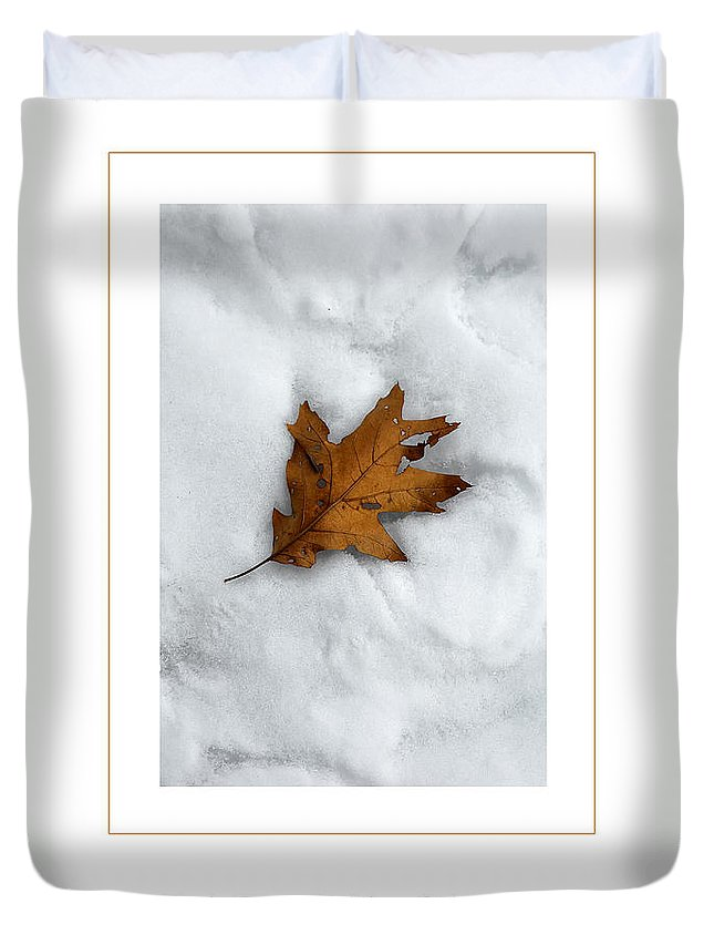Leaf Duvet Cover featuring the photograph Leaf On Snow Poster by Mike Nellums