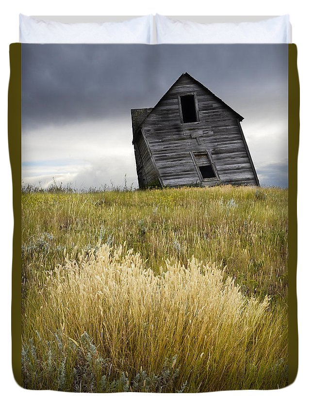 Homestead Duvet Cover featuring the photograph Leaning A Little by Bob Christopher