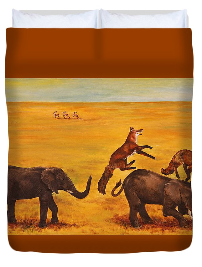 Fox Duvet Cover featuring the painting Leap Frog by Michelle Miron-Rebbe