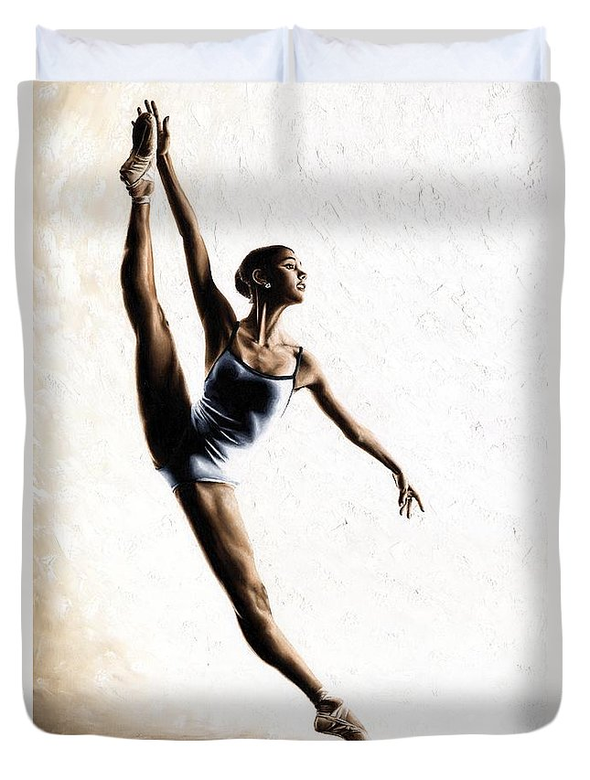 Dance Duvet Cover featuring the painting Leap of Faith by Richard Young