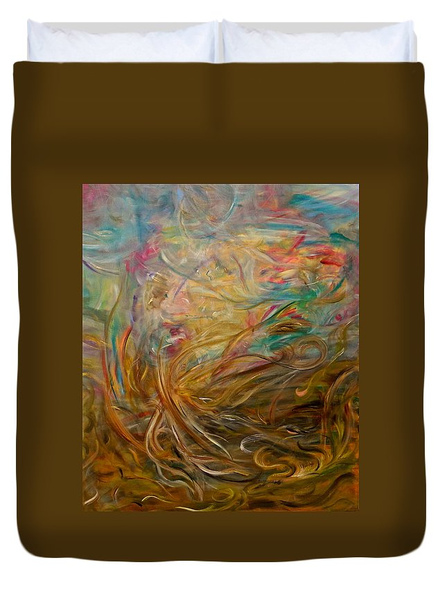 Whimsical Abstract Duvet Cover featuring the painting Leaping Aloud by Sara Credito