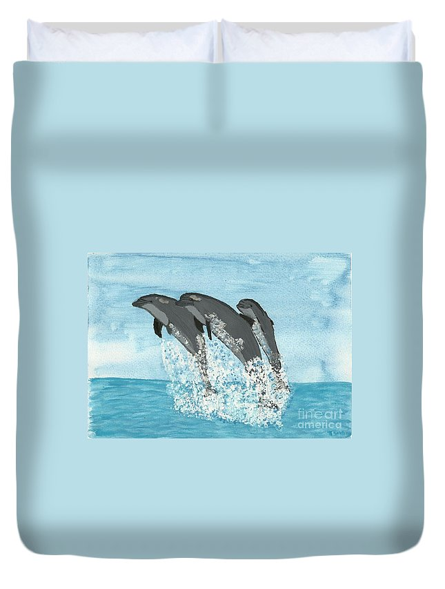Leaping Dolphins Duvet Cover featuring the painting Leaping Dolphins by Tracey Williams