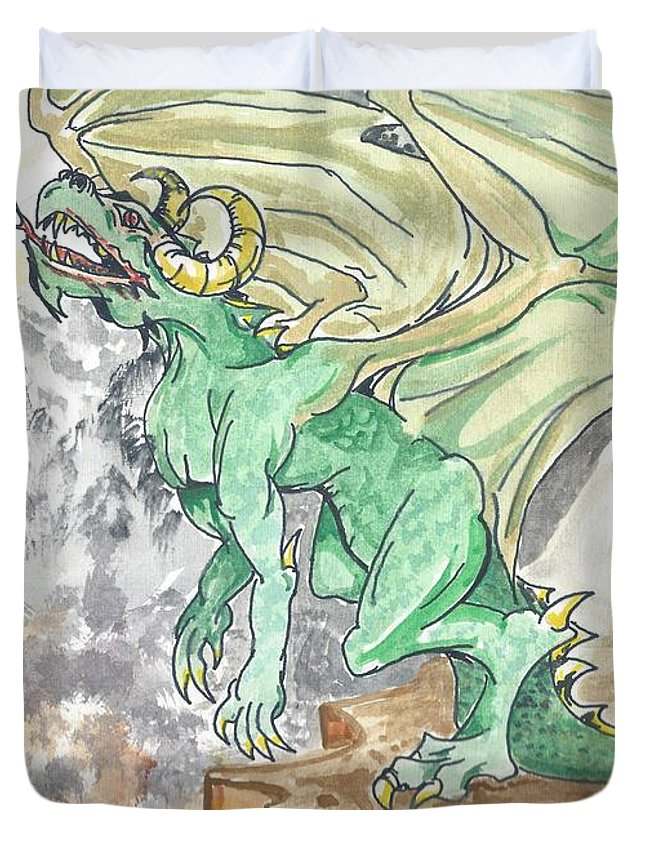 Dragon Duvet Cover featuring the painting Leaping Dragon by Reed Novotny