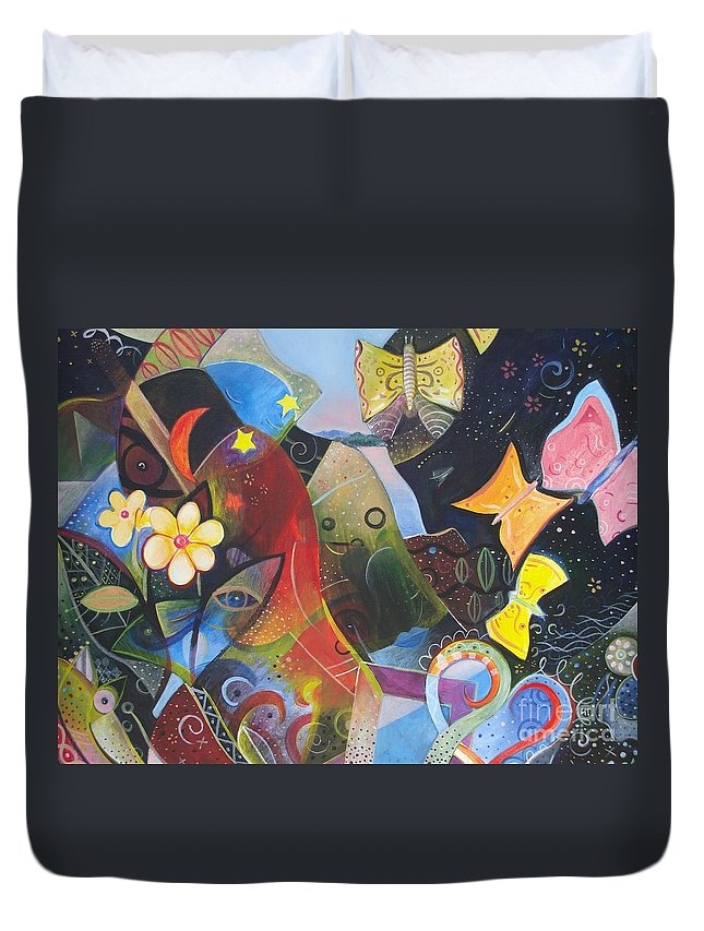 Butterflies Duvet Cover featuring the painting Learning To See by Helena Tiainen