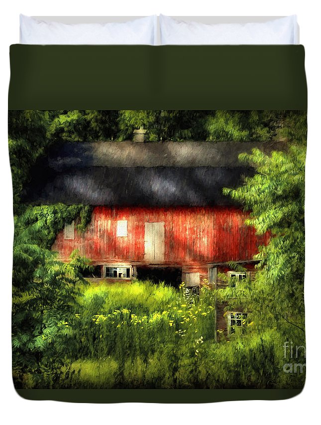 Barn Duvet Cover featuring the photograph Leave Our Farms by Lois Bryan