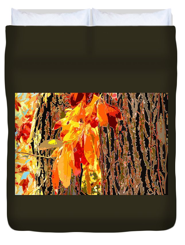 Leaves Duvet Cover featuring the photograph Leaves And Bark by John Lautermilch
