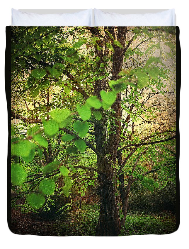 Quarryhill Botanical Garden Duvet Cover featuring the photograph Leaves In My Hair by Laurie Search