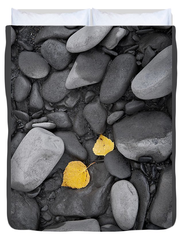 Alaska Duvet Cover featuring the photograph Leaves With Rocks by Carl R Battreall
