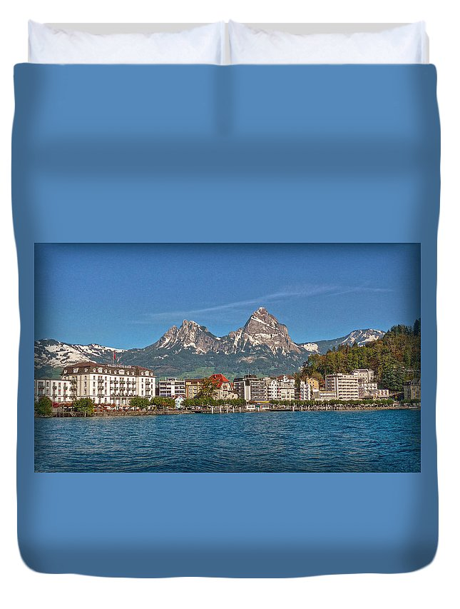 Switzerland Duvet Cover featuring the photograph Leaving Brunnen by Hanny Heim