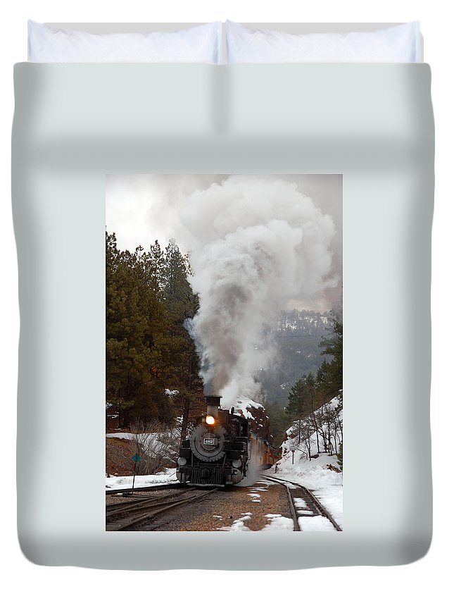 Steam Train Duvet Cover featuring the photograph Leaving The Rockwood Cut by Ken Smith
