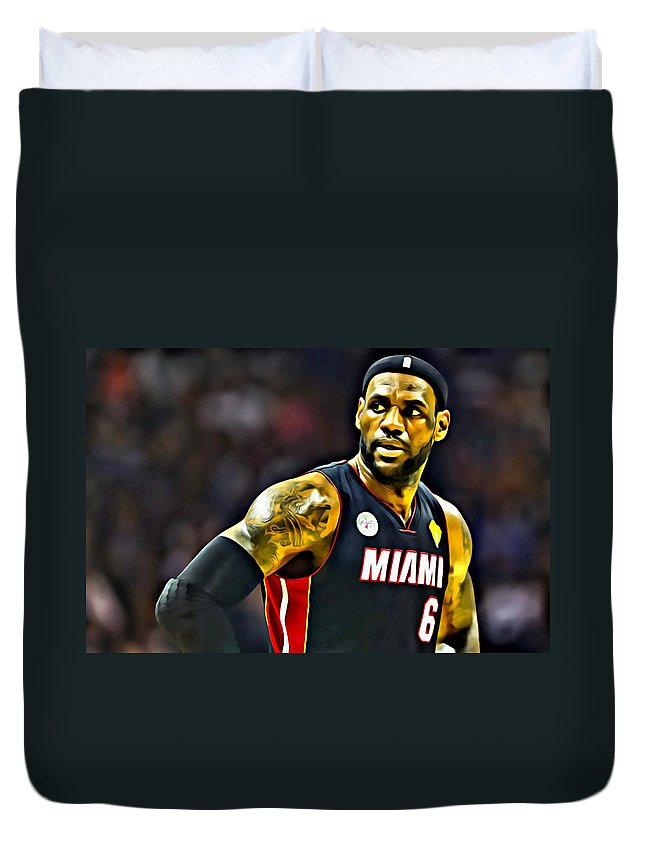Sport Duvet Cover featuring the painting Lebron by Florian Rodarte