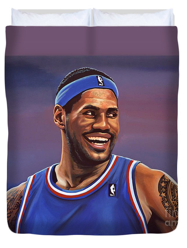 Lebron James Duvet Cover featuring the painting Lebron James by Paul Meijering
