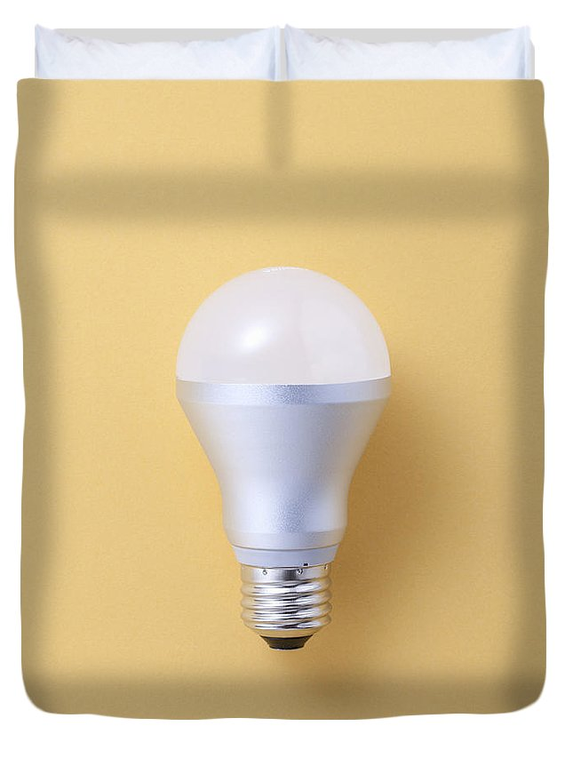 Environmental Conservation Duvet Cover featuring the photograph Led Bulb by Imagenavi
