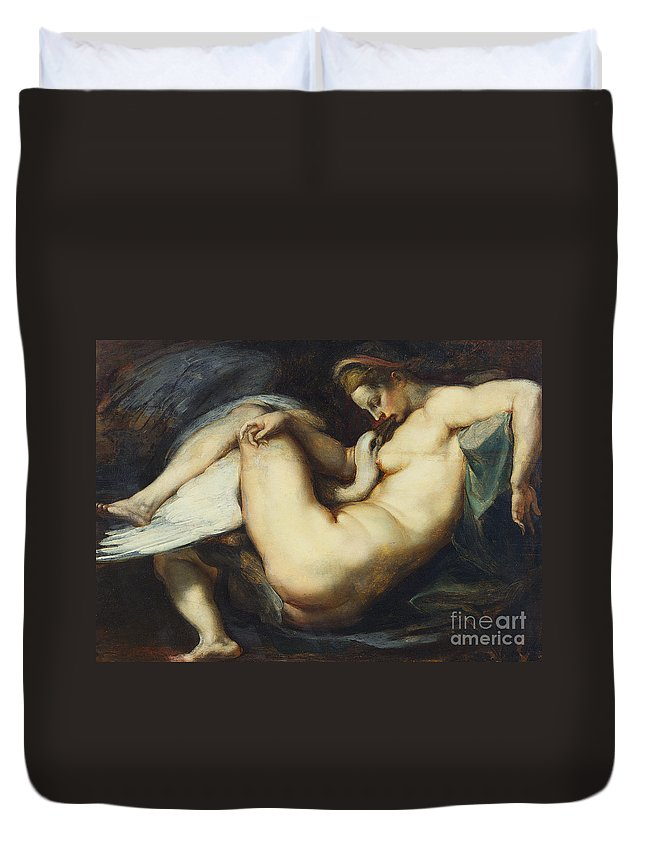 Leda And The Swan Duvet Cover featuring the painting Leda And The Swan by Rubens