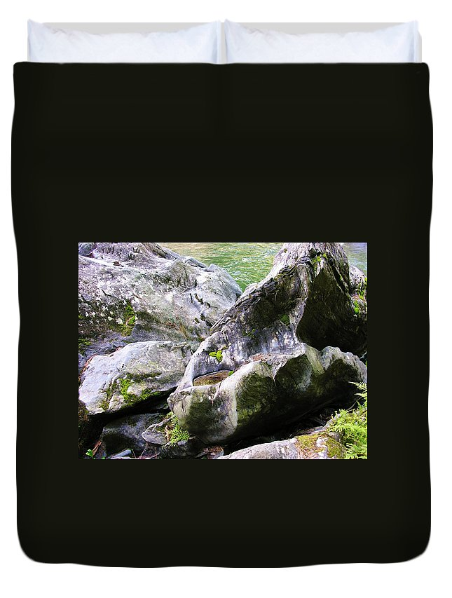 Ledge Duvet Cover featuring the photograph Ledge Worn Smooth By Centuries Of Water And Ice by Sherman Perry