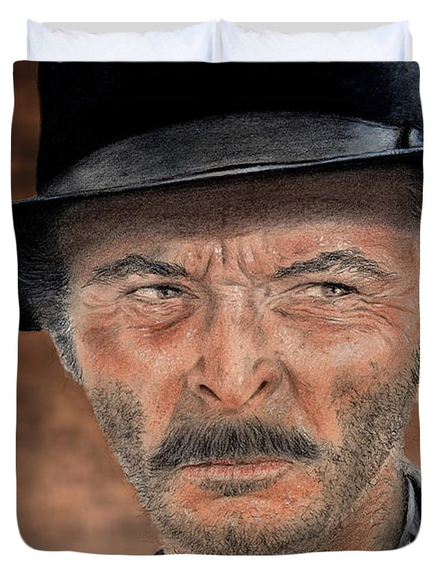Lee Van Cleef Duvet Cover featuring the drawing Lee Van Cleef As Angel Eyes In The Good The Bad And The Ugly Version II by Jim Fitzpatrick