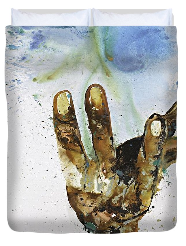 Hands Duvet Cover featuring the painting Leg-go by Kasha Ritter