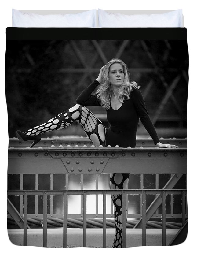 Ralf Duvet Cover featuring the photograph Leg On A Balustrade by Ralf Kaiser