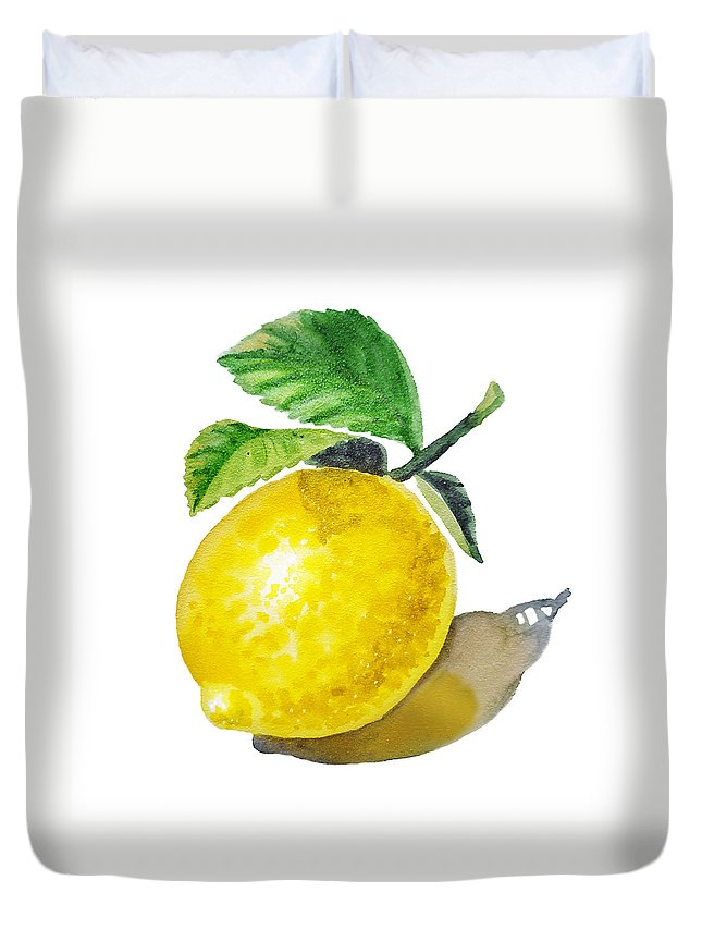 Lemon Duvet Cover featuring the painting Artz Vitamins The Lemon by Irina Sztukowski