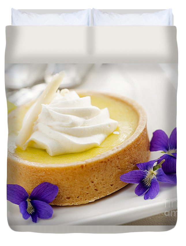 Tart Duvet Cover featuring the photograph Lemon Tart by Elena Elisseeva