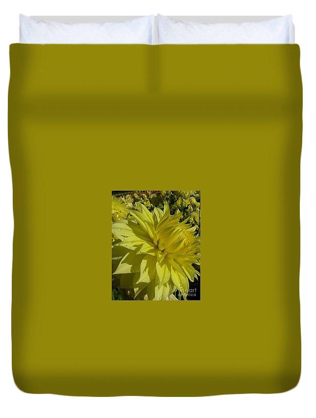 Flowers Duvet Cover featuring the photograph Lemon Yellow Dahlia by Susan Garren