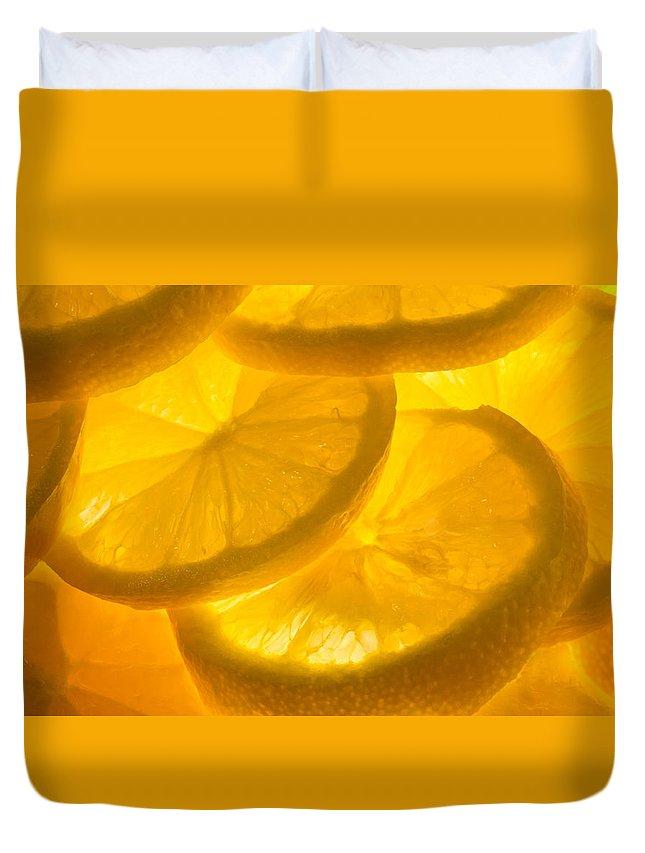 Lemon Duvet Cover featuring the photograph Lemons by Linda Mcfarland